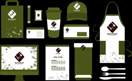 restaurant identity sets dark green white decor