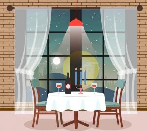 restaurant interior decor drawing multicolored 3d design