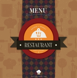 restaurant menu cover template ribbon circle checkered decor
