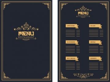 restaurant menu design royal style on dark background