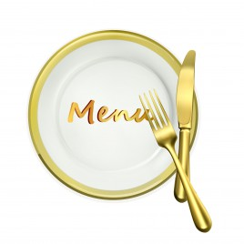 restaurant menu symbol disk with fork and spoon