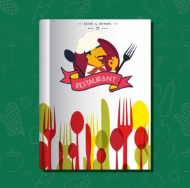 restaurant menu template colorful spoon fork cook icons