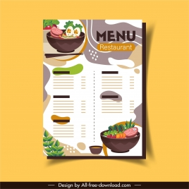 restaurant menu template elegant colorful classic food decor