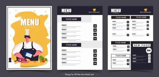 restaurant menu template elegant dark classic decor