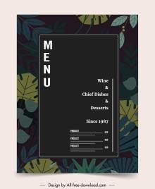 restaurant menu template elegant dark classic leaves decor