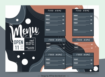 restaurant menu template elegant dark curves decor