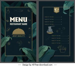 restaurant menu template elegant dark leaves decor