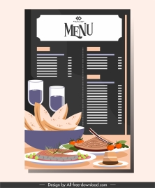 restaurant menu template elegant decor cuisine sketch