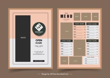 restaurant menu template flat dark elegant classic design