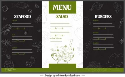 restaurant menu template handdrawn decor contrast design
