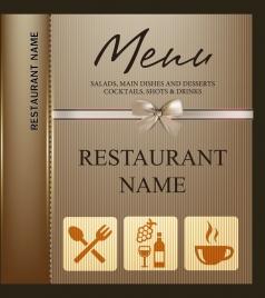 restaurant menu template knot icon brown stripes ornament