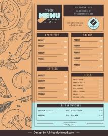 restaurant menu template retro handdrawn sketch
