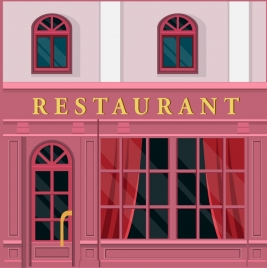 restaurants facade design with pink color