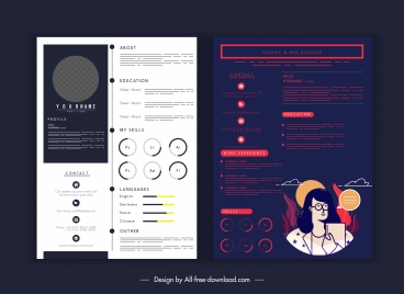 resume infographic template dark bright modern elegant design