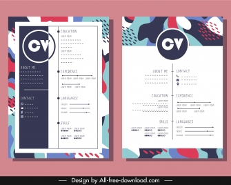 resume template colorful classical abstract decor