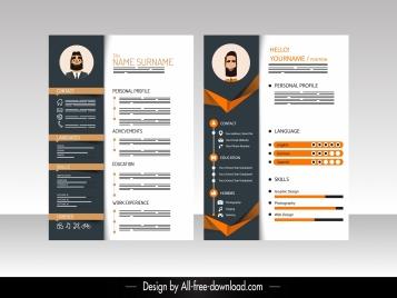 resume template elegant modern contrasted decor