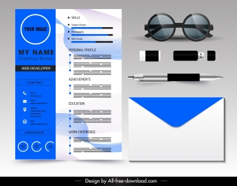 resume template modern blue white blurred decor