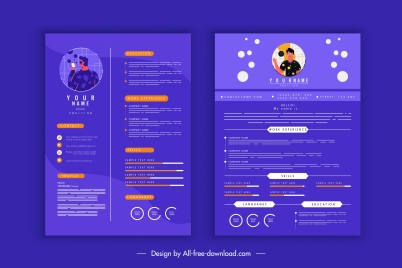resume template modern dark violet decor