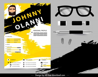 resume template modern grunge black yellow decor