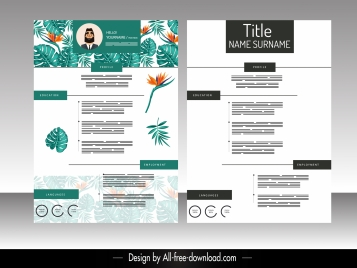 resume template nature theme floral leaves decor