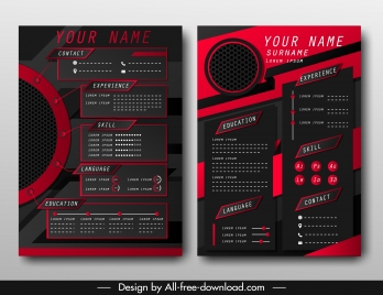resume template technology theme dark black red decor