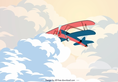 retro airplane painting cloudy sky decor cartoon design