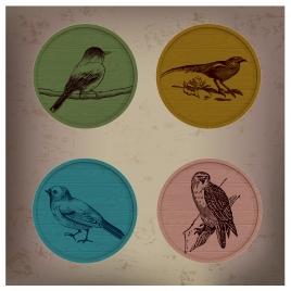 retro bird icons