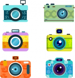 retro cameras collection various decoration types