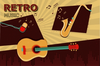 retro music background guitar trumpet microphone notes icons
