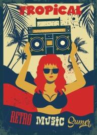 retro music party banner bikini girl cassette icons