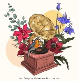 retro painting colorful floras bird speaker sketch
