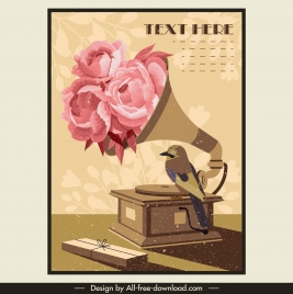 retro poster template floral bird ancient speaker decor