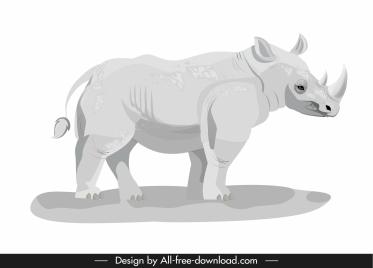 rhino icon modern bright grey sketch