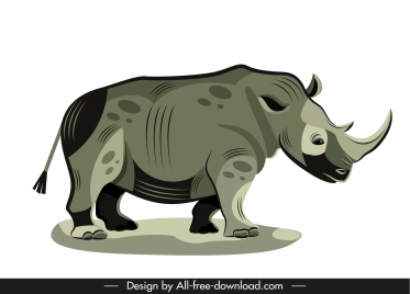 rhino painting dark colored handdrawn sketch