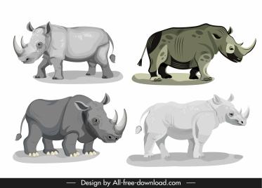 rhino species icons grey sketch