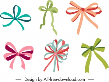ribbon bow template elegant colored classical design