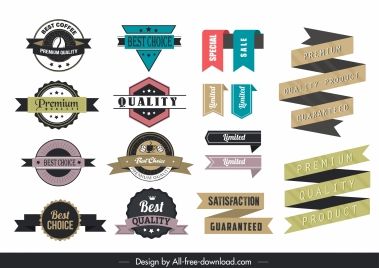 ribbon labels templates colorful classic shapes