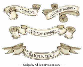 ribbon templates 3d retro handdrawn design curled shapes