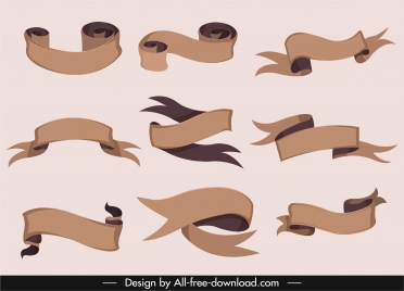 ribbon templates brown blank 3d curved sketch