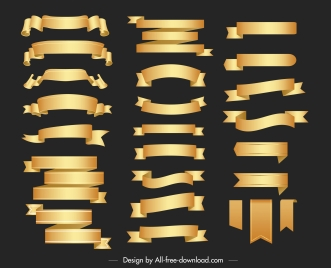 ribbon templates collection shiny elegant golden shapes