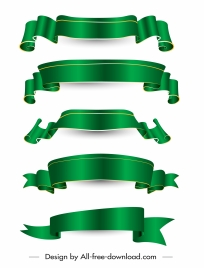 ribbon templates elegant green curled modern 3d design