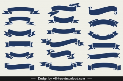 ribbons templates collection classic curled shapes