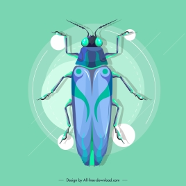 roach insect icon modern blue decor flat desgin