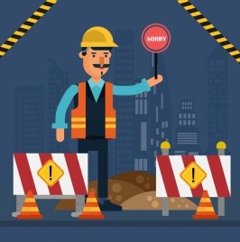 road construction drawing engineer signboard icons cartoon design
