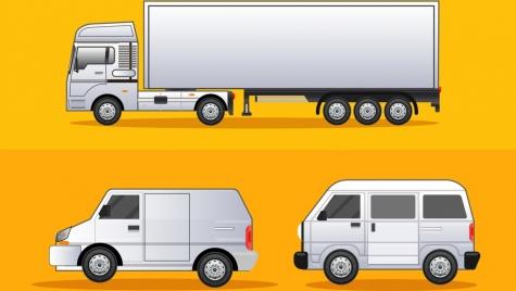 road logistics design elements truck van icons