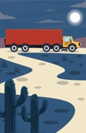 road logistics drawing trailer icon colored cartoon design