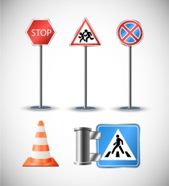 road traffic symbol icons illustration with colored style