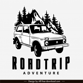 road trip logo black white handdrawn classic car