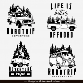 road trip logotypes retro design vehicles sketch
