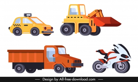 road vehicle icons truck bulldozer car motorbike sketch